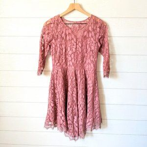 Free People Floral Mesh Lace Fit & Flare Dress
